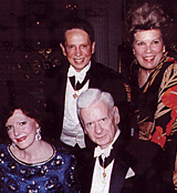Puccini Foundation Vocal Competition's Board of Directors, Cesare Santaremo and Soprano Jane Marsh Seated, Dr. Robert Campbell and Soprano Anna Moffo