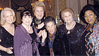 Opera Index Gala 2008, Left to right: Announcer-Midge Woolsey, Conductor-Eve Queler, Diva Sopranos-Jane Marsh, Licia Albanese, Lucine Amara, Martina Arroyo