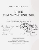 "World Premiere of von Einem's Lieder vom Anfang und Ende  ""Jane Marsh, To the great interpreter of the Premiere in Ossiach, sincere, devoted thanks"" –Gottfried von Einem ""Jane, In unforgettable Remembrance"" – Lotte Ingrisch ""The Marsh is great"" – Werba"