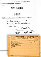 """Sun"" - world premiere by Ned Rorem, New York Philharmonic, Ancerl (Conductor)"